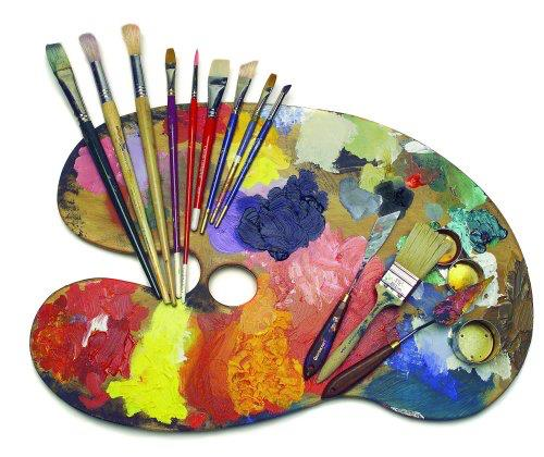 A picture of a paint set with some paint brushes on.